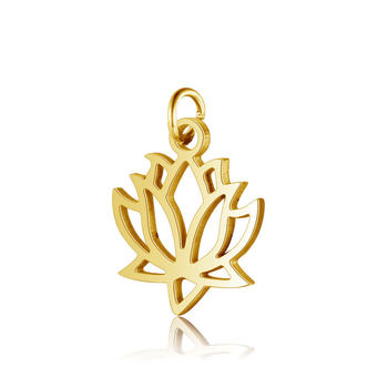 Gold Silver Rose Gold 3 colrs Titanium Steel Lotus Pendant Fully Polished Laser Cut Stainless Steel Jewelry DIY Gilded Pendant image