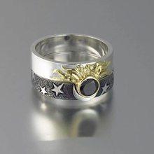 Sol e lua amante casal anéis definir promessa festa jóias casamento bandas para ele e ela
