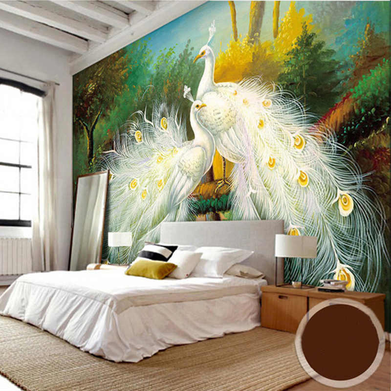 3D Beautiful White Peacock Wallpaper Mural Forest Landscape