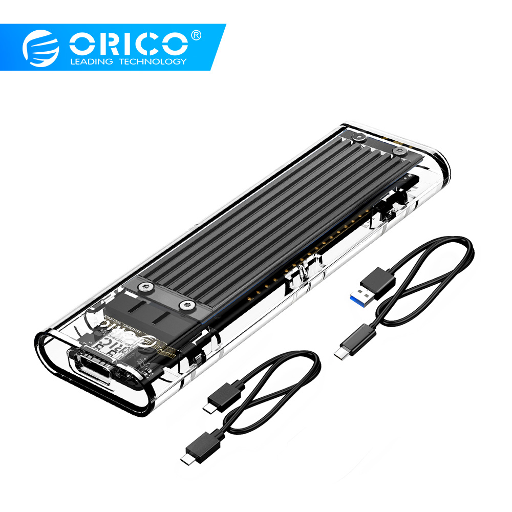 ORICO Transparent M.2 SSD Case NVME 10Gbps Support UASP USB3.1 Gen2 Type-C Mini SSD Enclosure With C to C and C to A Cable