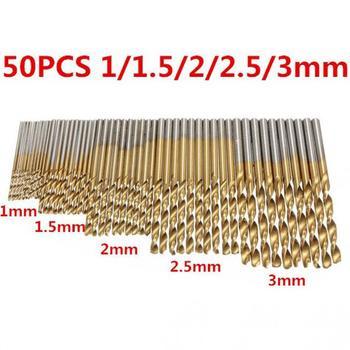 50pcs/lot Drill Bits Set HSS Drill with Hexagon Shank Drill Set 1 / 1.5 / 2 / 2.5 / 3mm Titanium Coated Drill Bit for Metal 50pcs set twist drill bit set saw set hss high steel titanium coated drill woodworking wood tool 1 1 5 2 2 5 3mm for metal h7