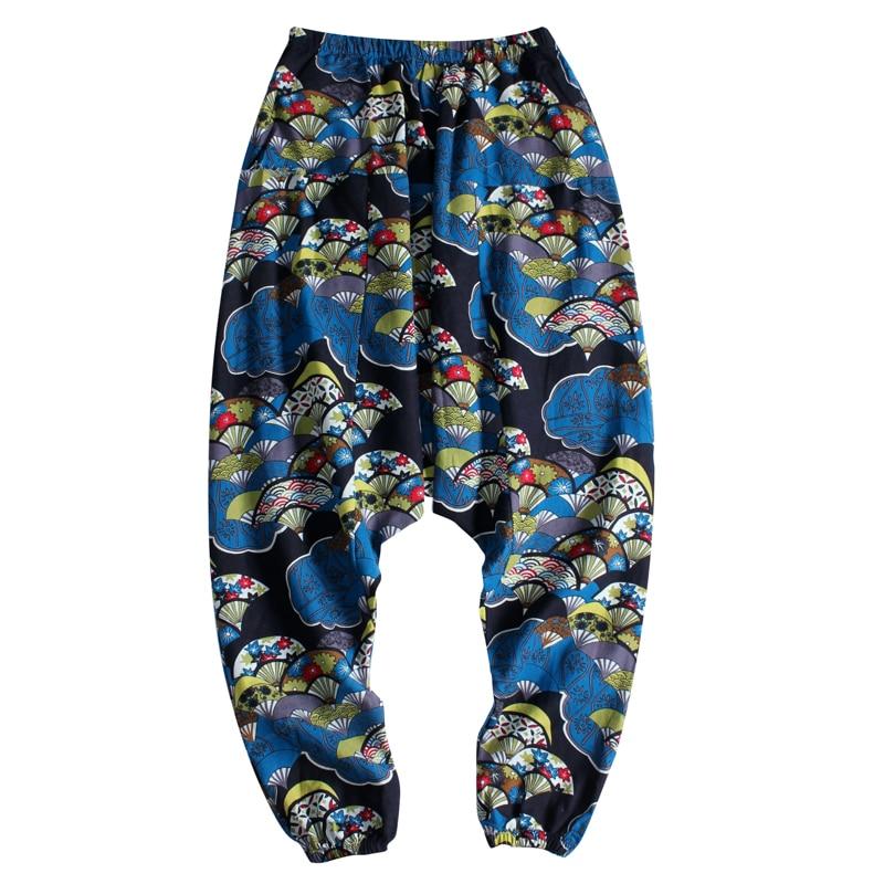 BYWX Men Pants Linen Cotton Casual Ethnic Print Drawstring Sweatpant