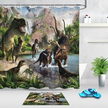 Dinosaur Shower Curtain And Rug Natural Scenery Bathroom Screen Extra Long Waterproof Polyester Fabric for Kids Bathtub Decor