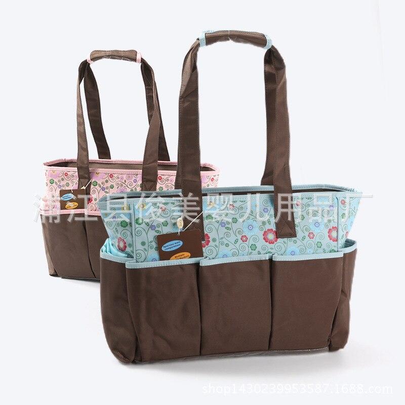 Multi-functional Fashion Small Flower Diaper Bag Large Capacity Waterproof Shoulder Bag/ Hand Bag Mommy Bag Shoulder Bag