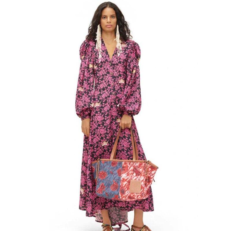Haute qualité 2019 automne nouveau violet Floral col en V manches latérales petit Angle longue robe femmes