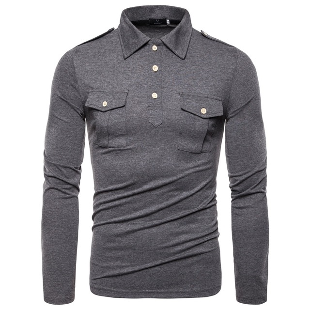 New European Code 2019 Autumn Lapel Long sleeved Polo Shirt High Quality Military Wind Pocket Decorative Shirt