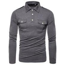 Nowy europejski kodeks 2019 jesień klapa z długimi rękawami koszulka POLO wysokiej jakości wojskowy wiatr kieszeni ozdobna koszula