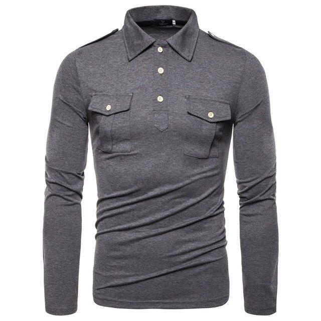 Nuovo Codice Europeo 2019 Autunno Risvolto di Polo a maniche lunghe Camicia di Alta Qualità Vento Militare Tasca Decorativo Camicia