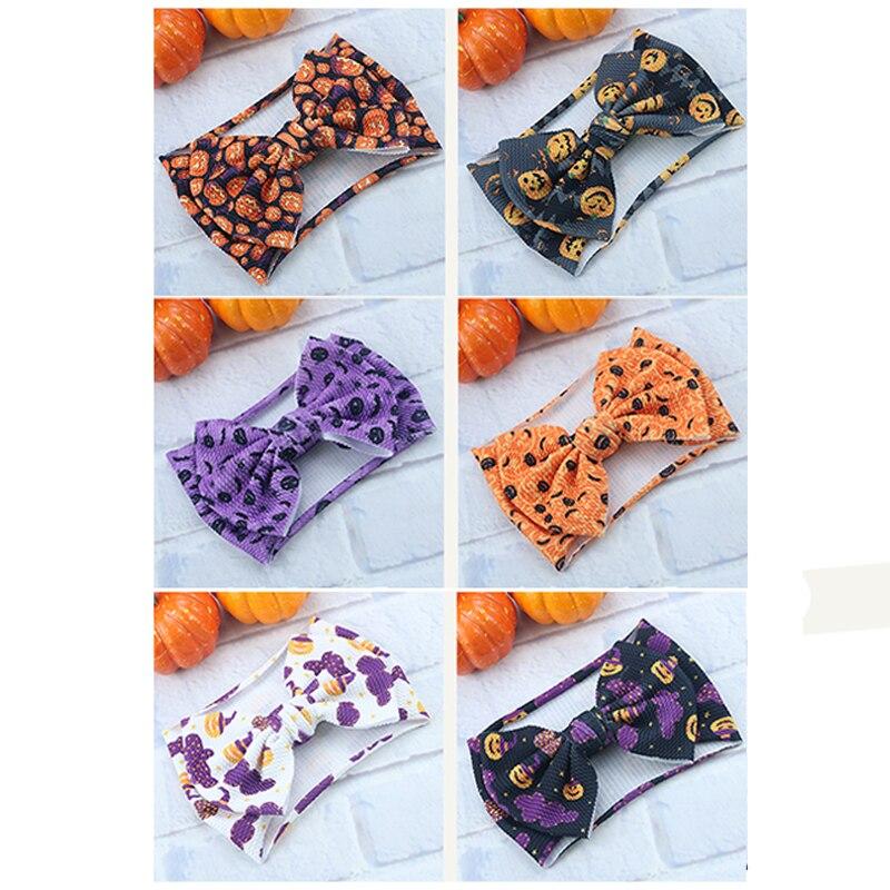 Halloween Bow Flower Baby Headbands For Girls Pumpkin Turban Party Festival  Punk Hairband Headweap Children Hair Accessories