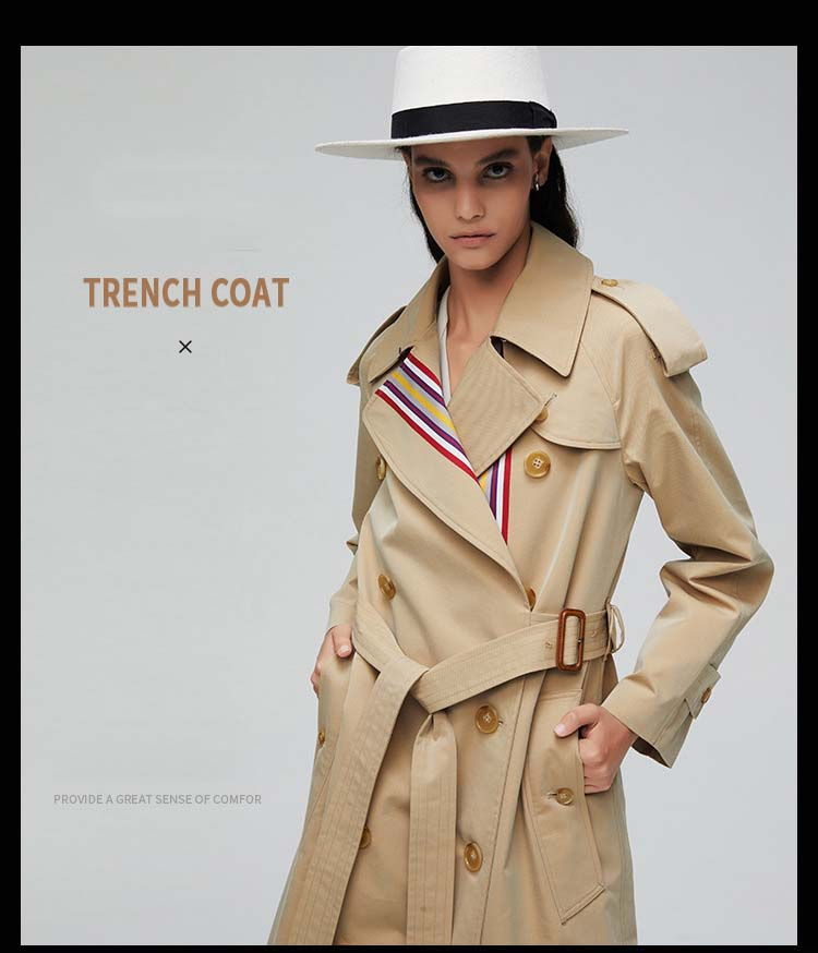 England Style Autumn Winter Trench Coat For Women Clothes Fashion Female Color bar Coat Women Elegant Streetwear Ladies Raincoat 2
