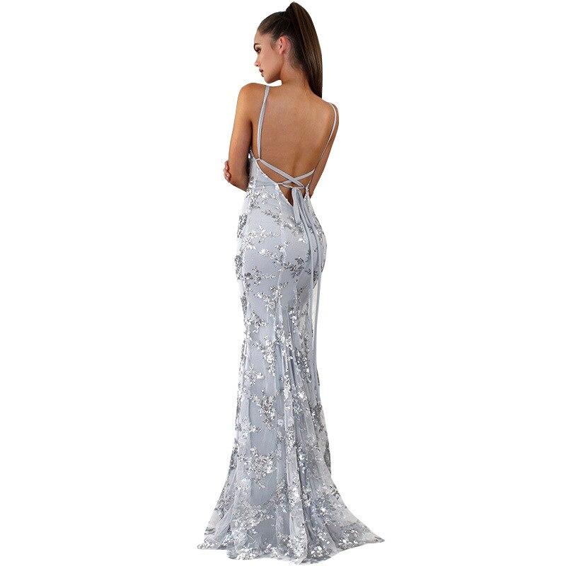 Cosy Dress Latest Party Cocktai Prom V-Neck Backless Women Sexy Spaghetti Strap Sleeveless Sequined Wedding Maxi vestido 4