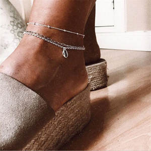 Anklets Female Vintage Silver-Color Link-Chain Shell Beach-Jewelry Bohemian Summer Metal