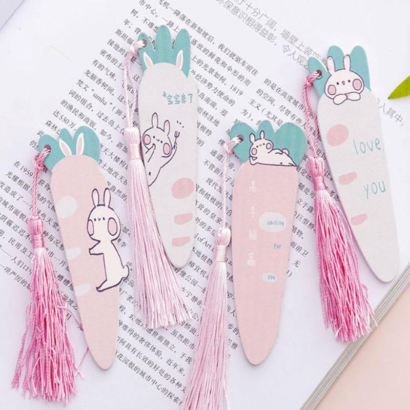 1pcs/lot Cartoon Carrot Rabbit Tassel Pendant Ruler Wooden Straight DIY Tools Nice Gift Prize Stationery