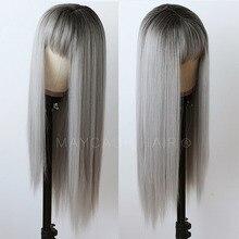 باروكات قصيرة من الشعر الرمادي الأومبري للنساء باروكة أمامية قصيرة مستقيمة من الدانتيل 180 كثافة