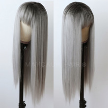 Maycaur Ombre Grey Long Straight Wigs for Women Black Gray Synthetic Hair Wigs with Bangs