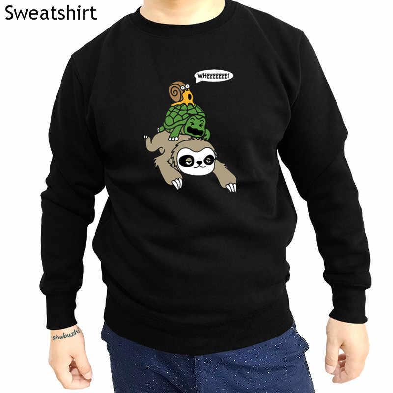 새로운 도착 캐주얼 패션 후드 Sloth 거북이와 달팽이 피기 백 재미있는 인기 Tagless 남자 o-넥 인쇄 스웨터 sbz4352
