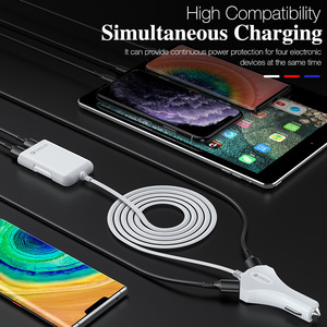 Image 5 - 4 Port Quick Charge QC 3.0 USB 3.1 Fast Charger Cable Back Clip Mobile Phone Car Charger Adapter For iPhone Samsung Xiaomi LG