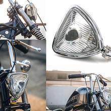 Motocicleta Vintage Triangle faro estilo Aris para Harley Bobber Custom Chopper Mini sección delgada Retro faro