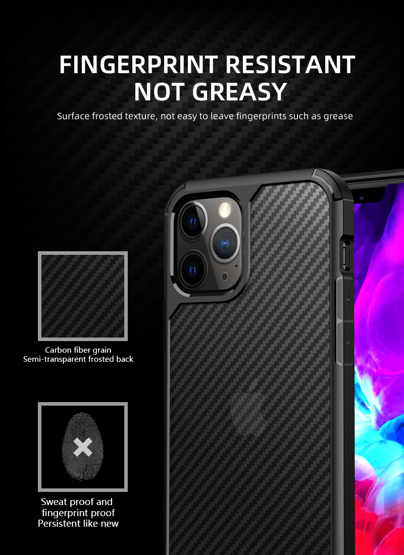 Clear Crystal Carbon Fiber Texture Durable Hybrid Soft TPU Bumper + Hard PC Back Cover Case for iPhone 12 Mini