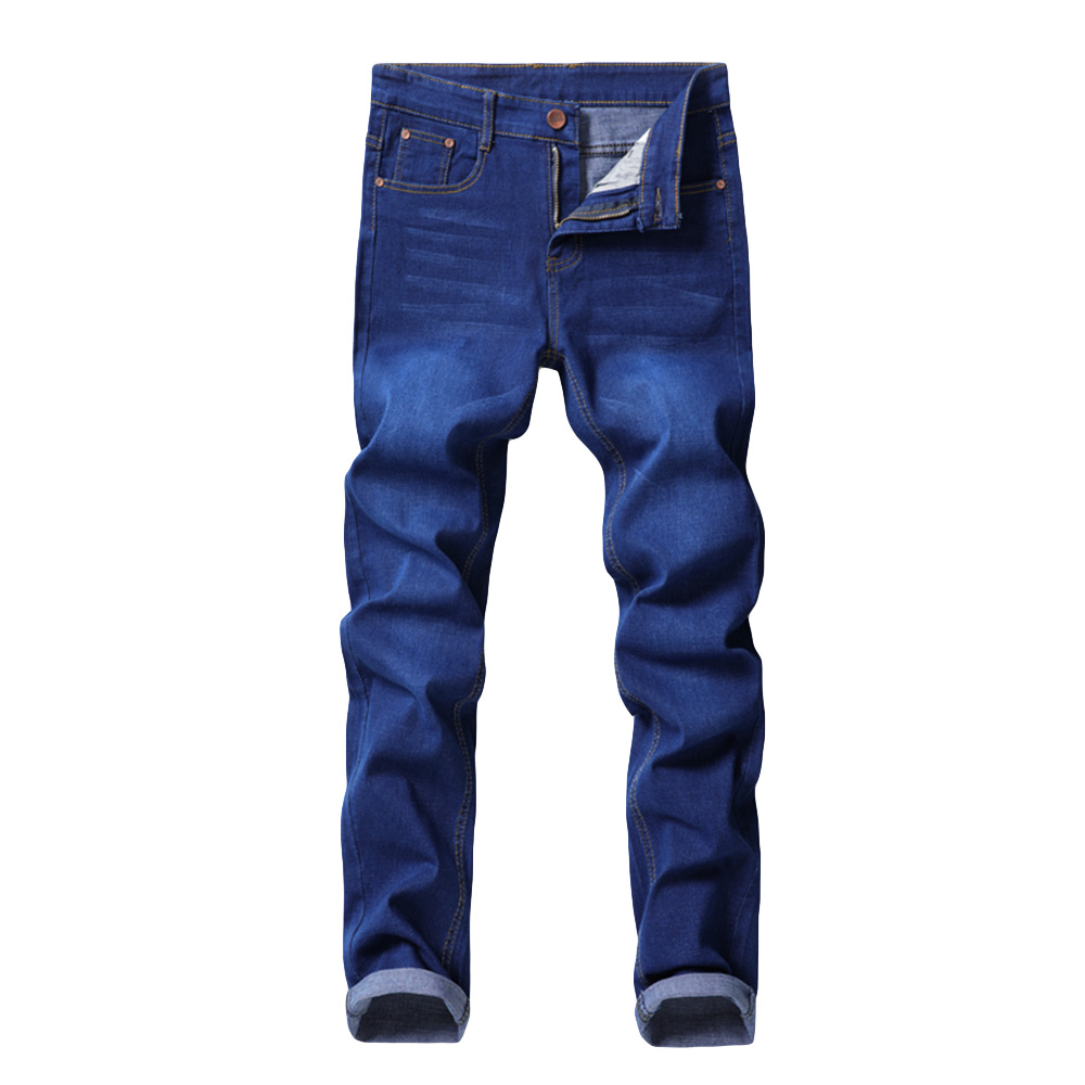 Cloudstyle Jeans Men High Quality Brand Business Casual Male Denim Pants Straight Slim Fit Blue Men's Trousers Yong Man