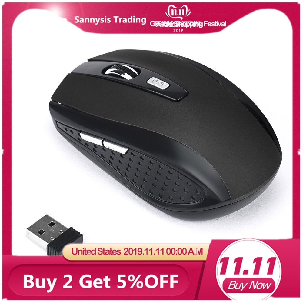 Hot-sale 6 Key Gaming Mouse 2.4GHz 2000DPI Mice Optical Wireless Mouse USB Receiver PC Computer Wireless for Laptop Gifts 1 pc image