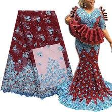 Bestway – tissu en Tulle français et dentelle africaine, longueur 5 Yards, pour robe de mariée nigériane, broderie suisse perlée de haute qualité, matériaux, 2020