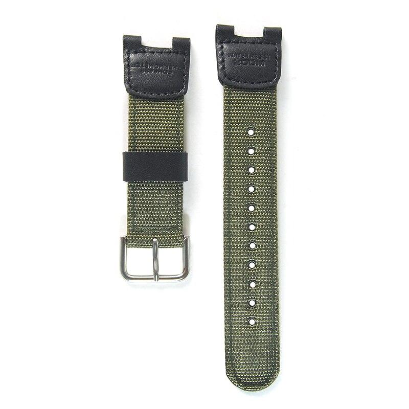 Nylon Watchband Women Men Black Sport Diving Watch Band Strap With Stainless Steel For Casio SGW-100  Samrt  Watch