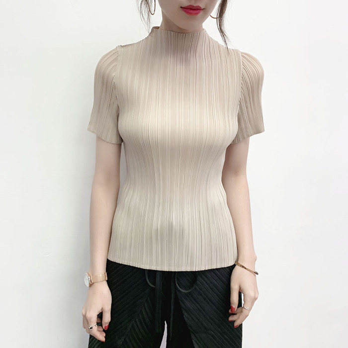 LANMREM Black Stand Collar Short-sleeved Pleated T-shirt For Famale Casual Simple Fashion 2020 Summer New Elastic Slim Tee YJ349