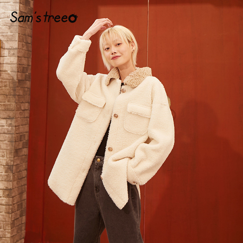 SAM'S TREE White Colorblock Pocket Oversive Wool Warm Coats Women 2020 Winter Gray Korean Single Button Lambswool Ladies Outwear