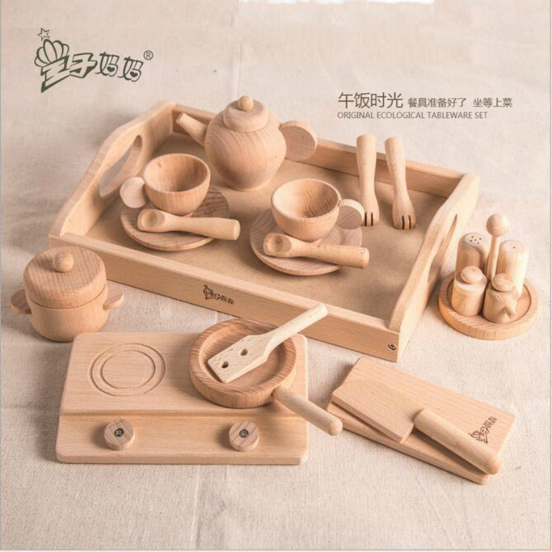 FREECOLOR Kitchen Series Original Natural Wooden Toys For Children Baby Early Education Teaching Simulation Wood Blocks Gifts