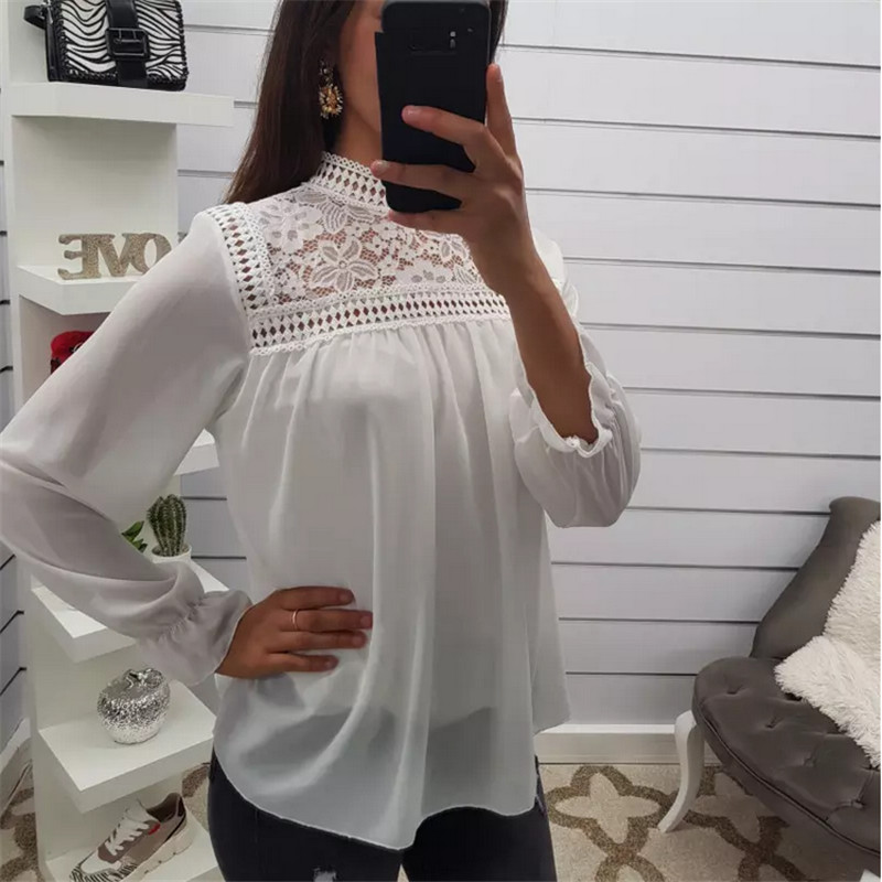 Women Chiffon Lace Long Sleeve High Neck Blouse Floral Hollow Out Casual Pullover Beach Basic Pullover Shirt Blusas Fall Clothes