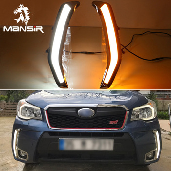 For Subaru Forester 2013 -2016 2017 2018 Yellow Turn Signal 12V LED DRL Daylights Car Headlight Daytime Running Light Fog Lamp image