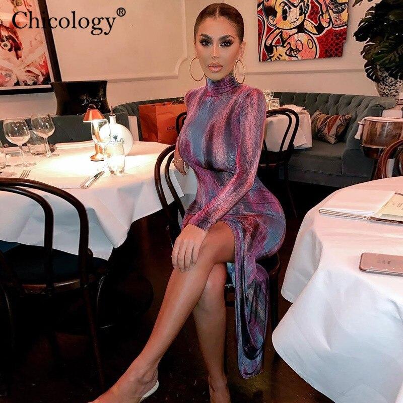 Chicology Tie Dye Long Sleeve Side Split Midi Dress Turtle Neck Elegant 2019 Autumn Winter Clothes Party Club Bodycon Outfit