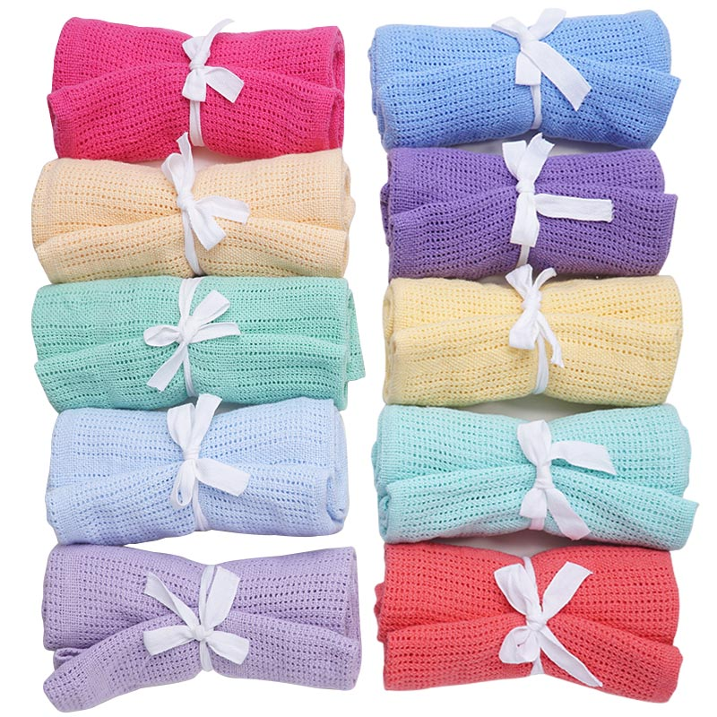 100% Cotton Baby Knitted Blanket Newborn Pure Color Swaddle Wrap Infant Baby Bath Towel Quilt For Baby Bed Sofa Basket Stroller