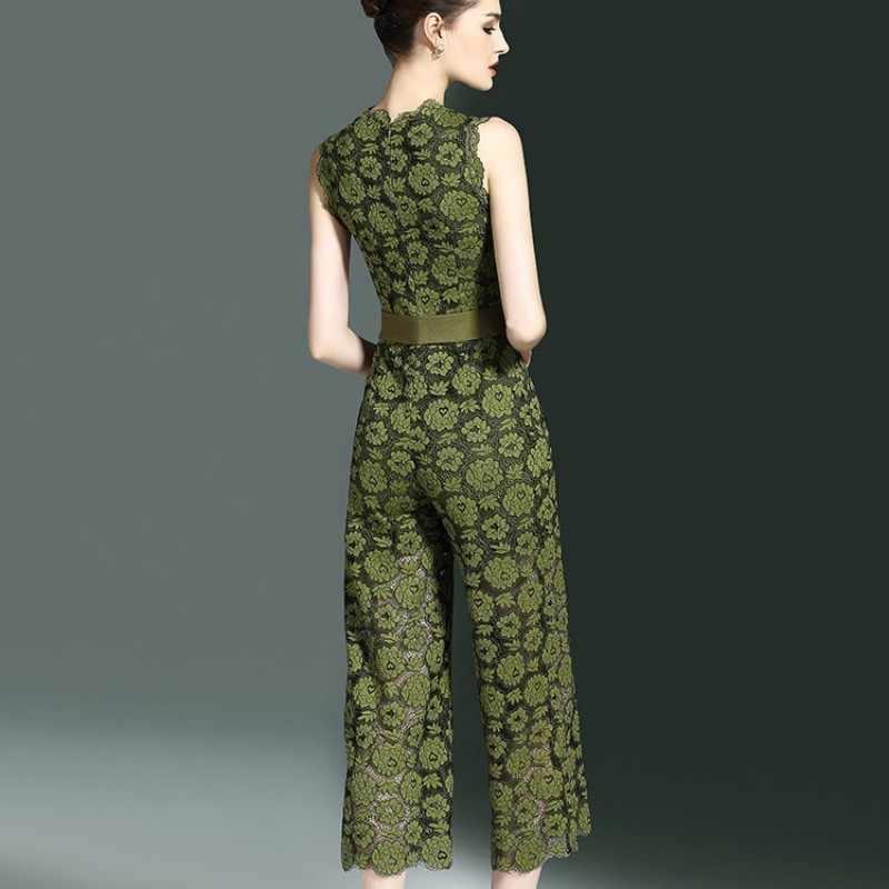 Neue Ankunft Sommer Frauen Overalls Mode Aushöhlen Floral Spitze Breite Bein Overalls Elegante Slim Fit Ärmellose Frauen Strampler