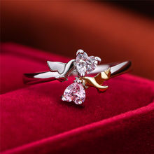 Cute Female Small Angel Heart Ring Fashion Silver Gold Bridal Engagement Ring Vintage Small Zircon Wedding Rings For Women(China)
