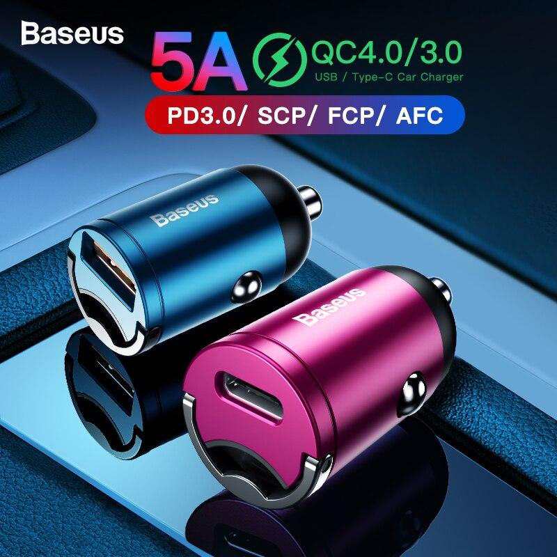 Baseus Carga Rápida 4.0 3.0 USB Carregador de Carro Para o iphone 11 Pro Max Huawei P30 QC4.0 QC3.0 QC 5A Rápido PD USB C Carregador de Telefone Do Carro
