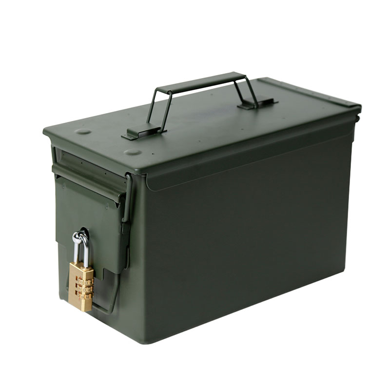 Lockable 50 Cal Metal M2A1 Ammo Can Military & Army Style Steel Box Gun Ammo Case Storage Holder Box Heavy Tactical Bullet box|Safes| |  - title=