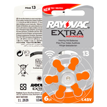 เครื่องช่วยฟัง 30 PCS/5 ใบ RAYOVAC EXTRA A13/PR48/S13 สังกะสี batterie 1.45V ขนาด 13 เส้นผ่านศูนย์กลาง 7.9 มม.ความหนา 5.4 มม.