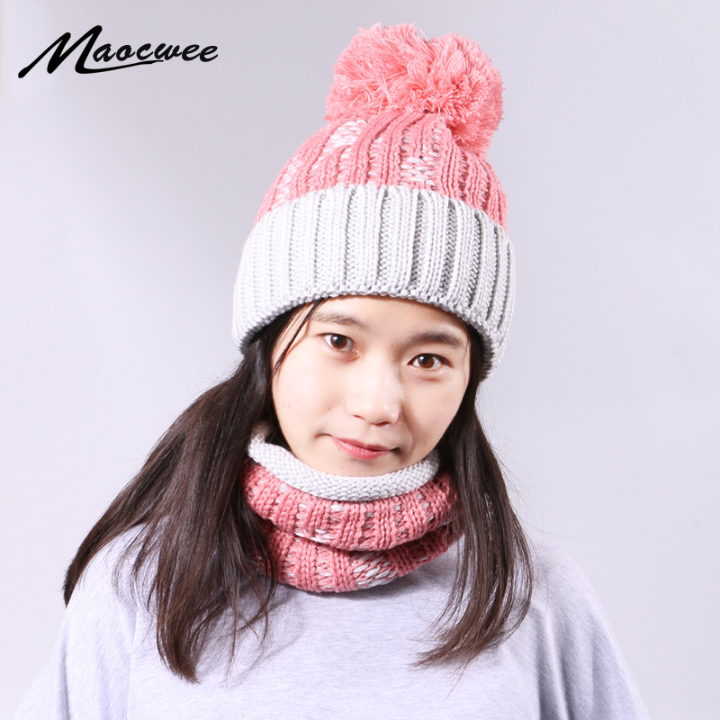 Winter Beanie Hat Ring Scarf Set With Lining For Women Men Solid Color Knitted Warm Plus Velvet Thicken Pompon Hedging Cap Sets