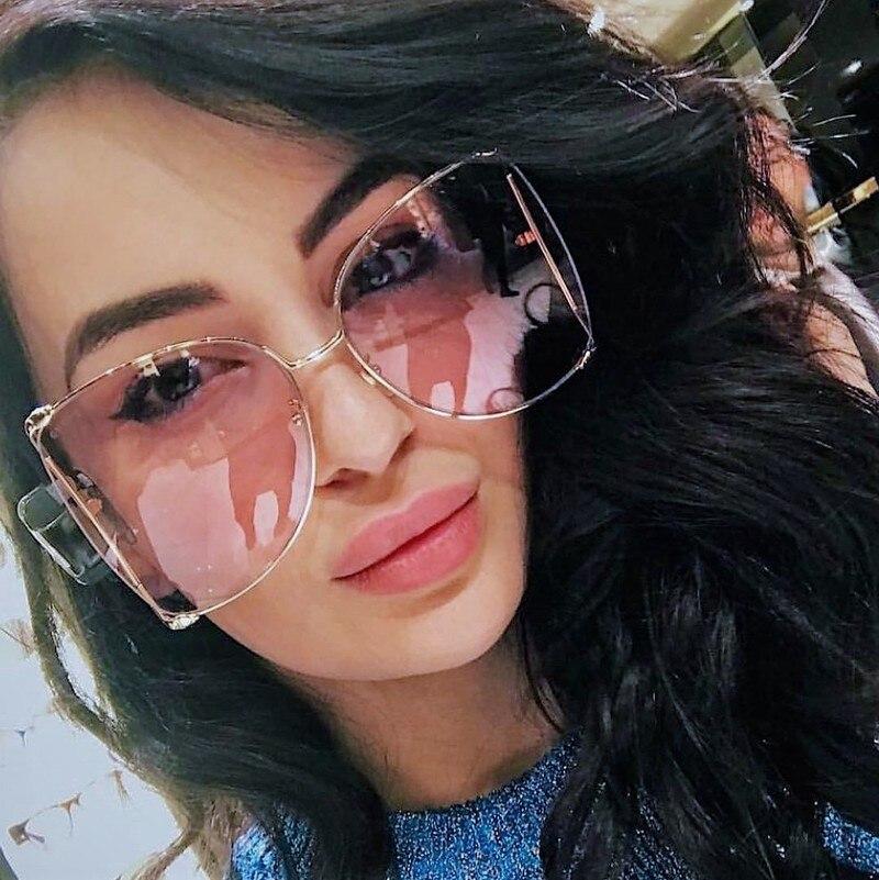Hollow D Square Oversized Sunglass Fashion Women Gradient Metal Frame Sun Glasses Streetwear Female Cat Eye Eyewear Shades UV400