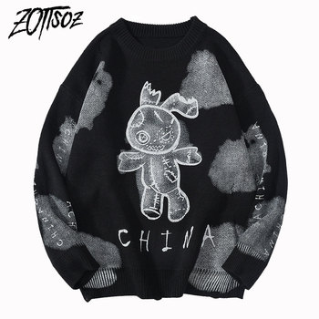 ZOTTSOZ Pullover Sweaters Hip Hop Casual Harajuku Streetwear Women Tie Dye Knitt Injured Rabbit Ripped Destroyed Holes Jumpers