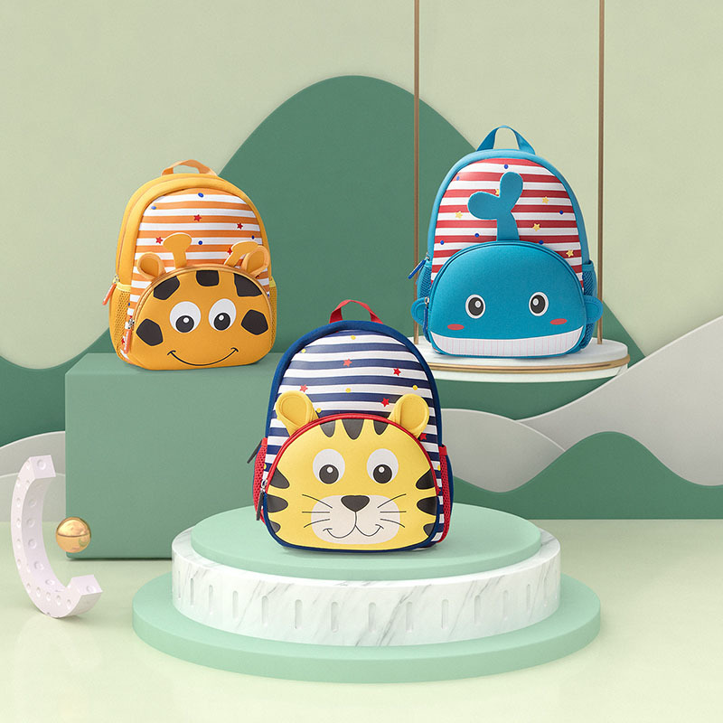 New Style Children Kindergarten Stripes Cartoon Animal Backpack (Need To Pay By Oneself)