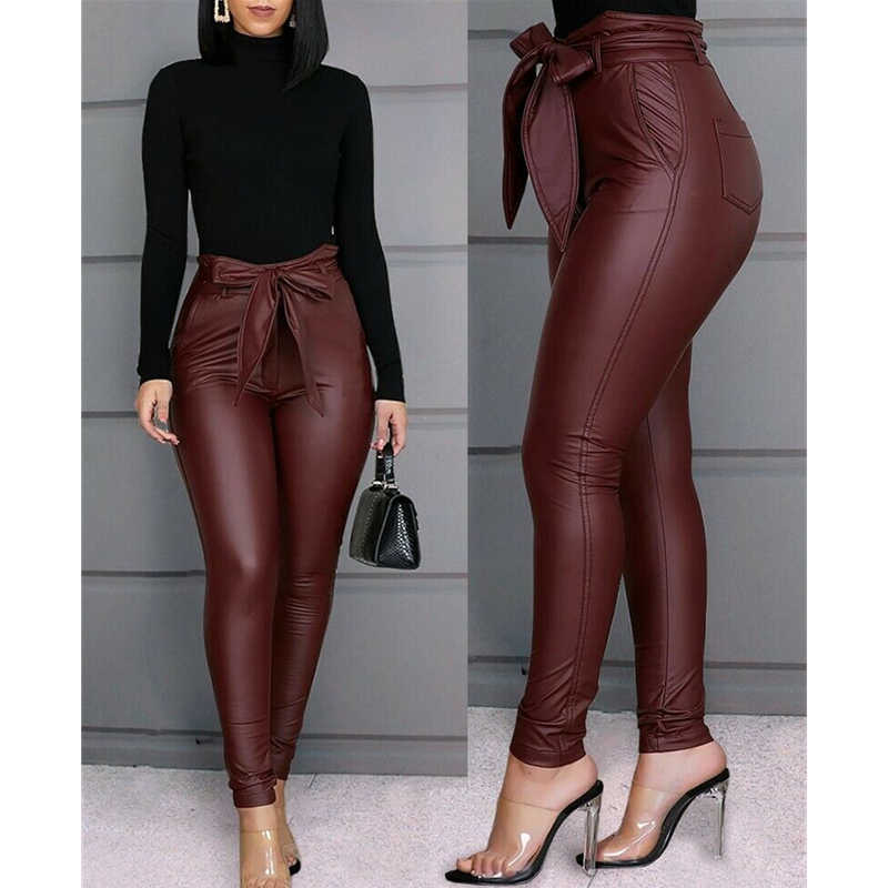 אופנה מזדמן מוצק נשים של עור מפוצל מכנסיים סקסי נמתח סקיני עיפרון מכנסיים גבוהה מותן Slim תחרה עד Buttom