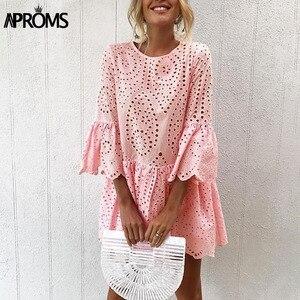 Image 1 - Aproms אלגנטי לבן הסרוגה תחרה שמלת נשים 2020 קיץ 3/4 שרוול מקרית טוניקת שמלת חוף Loose קצר שמלת Vestidos