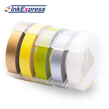 InkExpress 5 Colors 3D Embossing Tapes Printer Ribbon 3D Embossing Label Tape 9mm x 3 m Labels for Dymo Embossing Label Maker