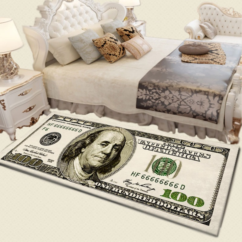 Vintage Currency Money 100 Bill Dollars Painting Entry Door Mat Porch Carpet Home Living Room Decor Rug Rectangle Coral Fleece