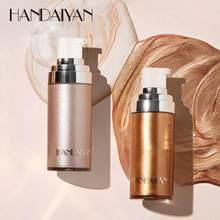 Handaiyan destaque luminizador corporal, 4 cores, brilhante, iluminador líquido, spray, brilho, pérola, branco, iluminador, maquiagem