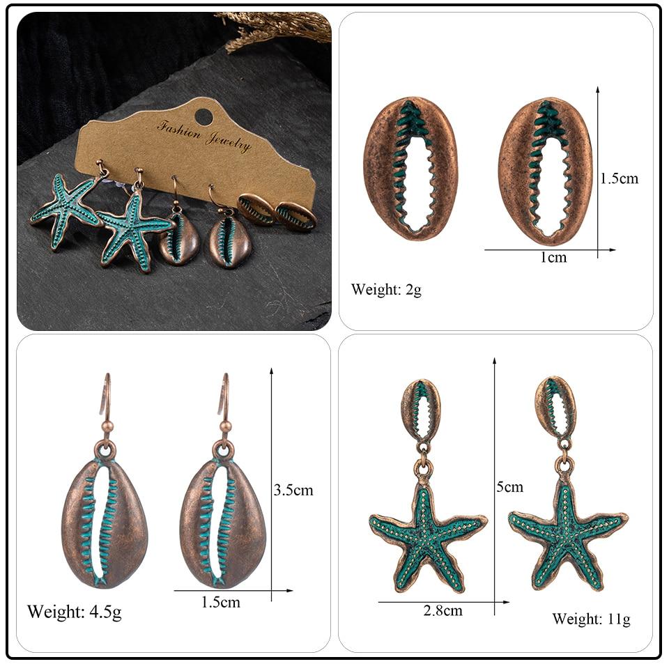 Bohemia Sea Shells Drop Earrings for Women Sets Vintage Ethnic Big Round Stones Wooden Tassel Fringe Earring Women's Set Jewelry (9)