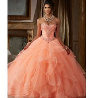 2019 Newest Sweet 15 Year Coral Quinceanera Dresses Organza Beaded Sequin Lace Up Ball Gown Birthday Party Dress